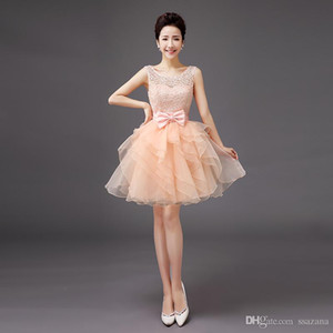Personalizzato MAde Breve Prom Dreses Con Organza Ruffle Scoop Neck LAce Sequin Sash Bow Breve Mini Homecoming Cocktail Party Dresses