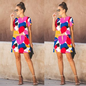 Summer new European and American cross-border multicolor stitching round neck short sleeve printed dress women