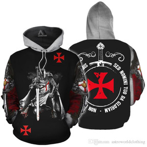 Knights Templars Designer Hommes Hoodies Manches Longues De Mode Hoodies Adolescents Sweatshirts Printemps Vêtements Pour Hommes
