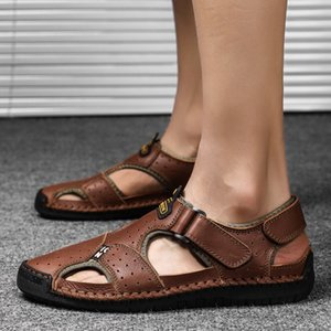 2020 New Summer New Beach Sandals Two-Layer Leather Large Fashion Mens Outdoor Casual Shoes
