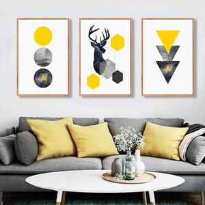 SURE LIFE Абстрактные геометрические Треугольники Олень Стендовые Холст тиражами Wall Art Картины Картины для гостиной дома украшения