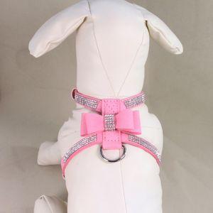 Brilhante Rhinestone Pet Chest Strap Dog Bow Collar Colar do filhote de cachorro Coleira Dog Deep Purple Tamanho Grande / S M L.