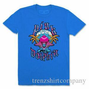 Pink Dolphin Mens Palms Of Paradise manica corta T shirt blu del T Shirt Cloth