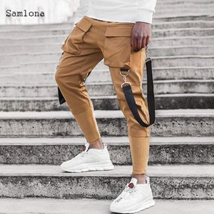 Stand Pocket Casual Cargo Pants Uomo Fitness Slim Sport Stitching tessuto Pantaloni Mens casuali di Hip Hop Sweatpants Uomini Streetwear