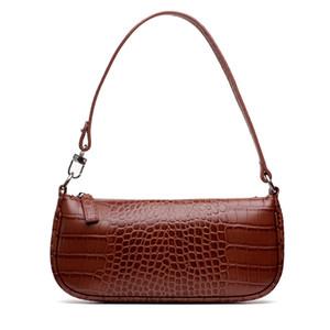 2019 new bag retro leather crocodile grain baguette Rachel shoulder bag leather handbags