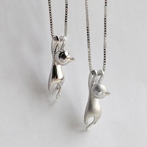 Schöne Frauen Silber Überzogene Halskette Tiny Cute Cat Anhänger Halskette für Frauen Dame Mädchen Schmuck Beste Geschenk