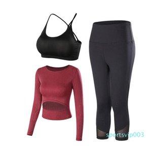 Kırpılmış Tozluklar Egzersiz Spor Suit Kadın Spor Seti Aktif Wear + Yoga Seti Spor Giyim Gömlek Modelleri, YJ-011