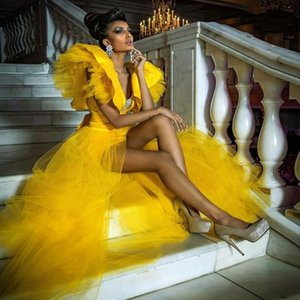 Yellow Sexy Prom Dresses With Deep V Neck S Front Split robe de soiree Ruffles Sleeves Tiered Evening Dress Cheap Party Gowns