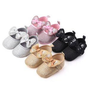 2020 Baby Girl Shoes Newborn Infant First Walker Bowknot Design Leather Soft Soled Princess Toddler Baby Crib Shoesdropshipper