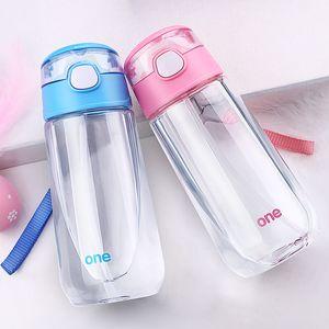 Niños Niños Niñas Objeto mágico al aire libre Botellas de agua de jugo caliente Botella de plástico transparente BPA libre con paja