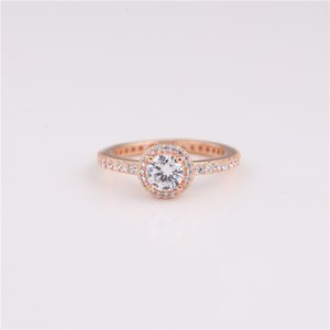 925 sterling silver ring cz Round zircon rose gold Round Sparkle Halo Ring for girls birthday present