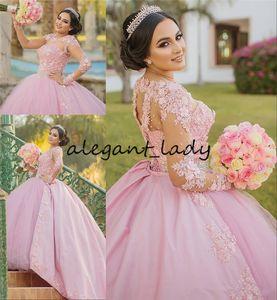 Rosa 16 vestido de Quinceanera dulce 2020 Tamaño de bola del vestido de la vendimia de encaje de manga larga floral 3D Vestidos 15 Anos Plus Pageant Prom Vestidos