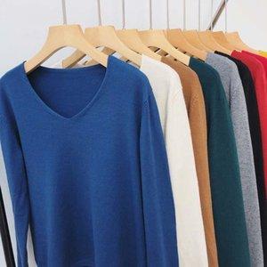 Colorfaith 2020 neue Herbst-Winter-Frauen-Strickjacke-Pullover Minimalist Stricken elegante Damen Feste Multi Farben Tops
