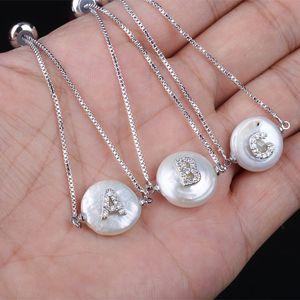 Chaîne pas cher lien Bracelets Micro Pave CZ 26 Lettre initiale Alphabet Nom Charm perle d'eau douce naturelle Monnaie Argent Bracelet chaîne Pour