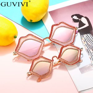 Diamond Steampunk Sunglasses Women Grils Mirror Punk Lip Sunglasses Men Boys Anti-Reflective Rhinestone Sunglasses Kids Eyewear