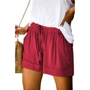 2020 basic shorts retro street elastic waist outdoor shorts sports loose casual shorts summer new European version of the high waist wide