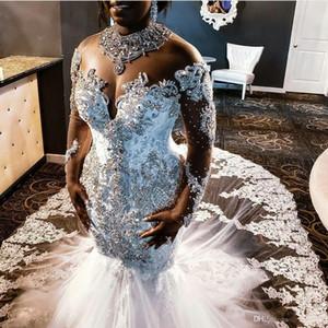 2020 Africano da sereia do vestido de casamento de casamento do tamanhoVestidos Cristais Vestidos strass rendas frisado manga comprida Tribunal Trem Sul Vestido de Novia