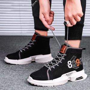 Летний новый стиль Корейский стиль моды Versatile Black Hip Hop Hip Hop Мужская обувь молодежи Студенты Повседневный высокого верхнего совета Чистка Canv