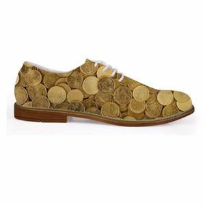 Personnalisé Spring Fashion Coin 3D Imprimé Hommes Business Robe Chaussures À Lace-Up Appartement Cuir chaussures pour hommes Casual Homme Oxfords Chaussures