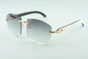 Nuevas gafas de sol calientes A4189706 templos naturales salvajes en blanco y negro de búfalo híbrido de cuerno, vidrios unisex de moda de calidad superior directo de fábrica.