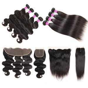 Cheap Brazilian Virgin Hair Wefts Straight Weave Bundles With Frontal Accessories Remy Hair Bundles With Closure Body Wave Hair Extensions