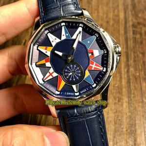 Высококачественные Адмирал Кубок Легенда 42 A395 / 02982-395.101.20 / OF03 AB12 синий циферблат Автоматическая Мужские часы Стальной корпус кожаный ремешок Спортивные часы