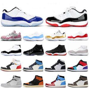 Jumpman منخفضة الأبيض ولدت 11 11S أحذية كرة السلة كاب وثوب كونكورد 45 1S UNC الباندا حجر السج الاتحاد الأسود تو أحذية الرجال الاحذية الرياضية
