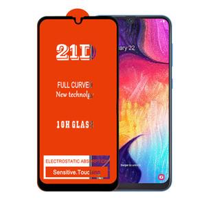50pcs completa Pegamento 21D protector de la pantalla de cristal templado para Samsung A10S A20S A30S A50S A60S A70S A80S A90S iphone 11 rasguño anti-cubierta completa