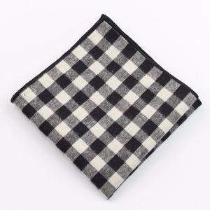 Men's Sunny Style Cotton Handkerchief Tartan Strip Pocket Square Hankies Towel Casual 22*22cm