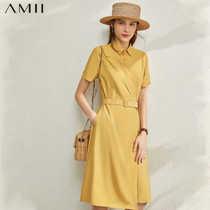 AMII Minimalisme Mode Printemps Eté solide épissé femmes Robe causales taille haute ceinture longueur Lapel genou Robe Femme 12030095
