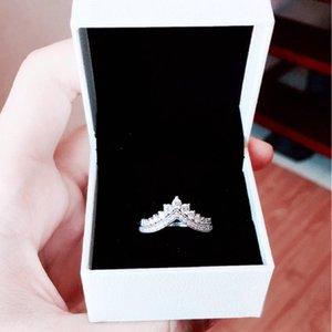 Llegada Mujer Princesa Anillos de corona con caja de regalo original para Pandora 925 Sterling Silver CZ Diamond Anillo Conjunto