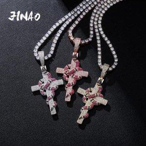Jinao New Serpent Winding Pendentif croix Collier GLACÉ zircons Pendentif Halloween Noël Cadeaux de bijoux Hip Hop