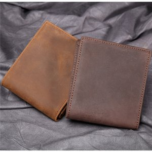 Men Genuine Leather Bifold Wallet Vintage Coin Purse Short Card Men Mini Purse Crazy Horse Leather Wallets