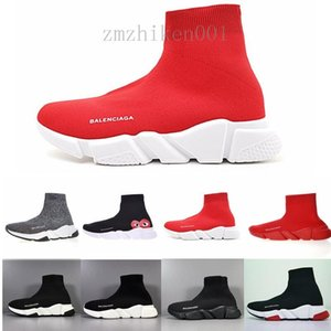 New Arrivlas s Fashion Luxurys For Women Men Speed Trainer off Red Triple Black Flat Casual shoes Sock Boots Mens Shoes ND692