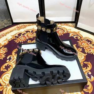 Gucci boots kemer İyi 1 kalite ile 2020 Progettista Arı Platformu Çöl Botları Lady deri Yarım bot Yüksek Topuk Martin ayakkabılar Baskı Kontrol tüvit