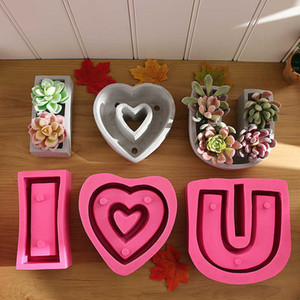 I Love U Heart Shape DIY Clay Cementsilica Silicone Mold Plants Succulent Flower Pot Mould Cement Molds Silicone Concrete Decor