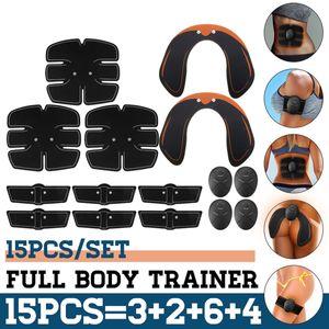 15 Adet / takım EMS Kas Karın Trainer Akıllı Kablosuz Kas ABS Kalça Karın Kas Stimülatörü Zayıflama Vücut Masajı Seti Kilo Kaybı