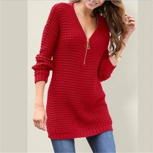sueter mujer invierno 2019 스웨터 dress women zipper 풀오버 sweter 옷 women sexy deep V knit sweaters woman pull femme