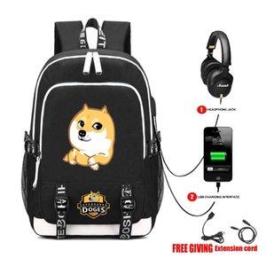 Borse di ricarica USB per cuffie jack Schoolbag Unisex viaggio spalle Laptop Bag libro studente zaino fresco taglio Doge viso zaino