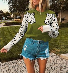 Painéis Pullover Camisolas Casual manga comprida gola Camisolas Womens Vestuário Womens Designer Leopard Pattern Camisolas Moda