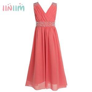 iiniim Children's Summer Dress Sleeveless Sequins Chiffon Flower Girl Maxi Dress Princess Bridesmaid Birthday Party Tutu