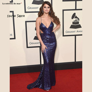 Brilhando Selena Gomez Celebrity Dress Mermaid lantejoulas V Neck Backless vestidos longos de noite formal 2019 vestidos no tapete vermelho baratos