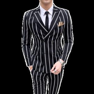 Gestreifte Hochzeit der Luxuxmänner beiläufige Smokingmänner britische dünne Klage 2pcs Qualitätsgeschäfts-Social Clubklage Kostüm homme