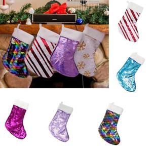Weihnachtsdekoration Reversible Sequin Stocking Anhänger Hang Zubehör Candy Bag Geschenke Tasche Party Supplies DHL HH9-2337