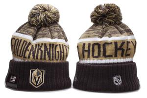 2020 новые мужские вязаные шапочки высокое качество дешевые рыцарь зима теплая череп шапки хоккей пом вышивка Вегас Золотой хоккей манжеты шапочки шапки