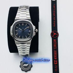 Versión PPF Top 5711 / 1A 010 azul dial de la fecha Caja de acero de plata PP.324s integrado Movimiento del reloj para hombre de acero plateado Banda mira negocio