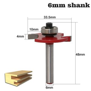 "1pc 6mm 생크 고품질 ""T""유형 비스킷 공동 슬롯 커터 Jointing / Slotting Router 비트 3mm, 4mmHeight 커터 목재 가공"