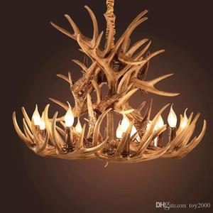 Antlers résine lustre lampe moderne LED antler lustre lustres lustres E14 lumières Vintage nouveauté éclairage pendentif lumières noël