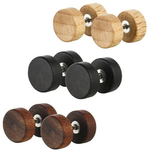 Moda Natural de madeira Ear Aço inoxidável Studs ganhos para Mulheres Homens Madeira Barbell Piercing Punk Brincos Stud