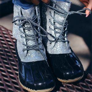 امرأة بريق زلة بطة أحذية 2019 جديد الكبار الأزياء الكاحل عدم الانزلاق أحذية تنفس ماء الترتر المطر الحذاء الرباط حتى أحذية المطر